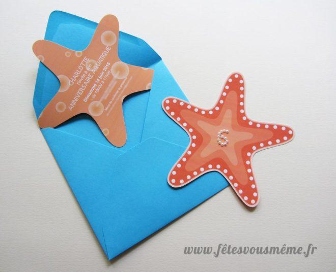 Invitation anniversaire enfant - invitation étoile de mer - Fêtes vous même