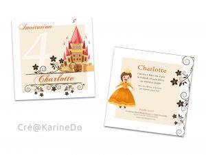 Détail carte invitation Princesse & Chevalier - Fêtes vous même