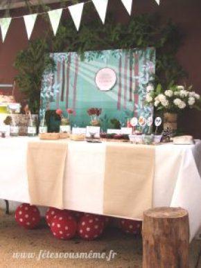 table Gourmande Thème forêt - Buffet côté droit - Fêtes vous même