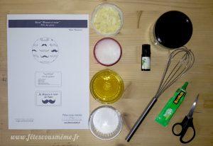 Ingrédients Mousse à Raser Moustache - Fêtes vous même