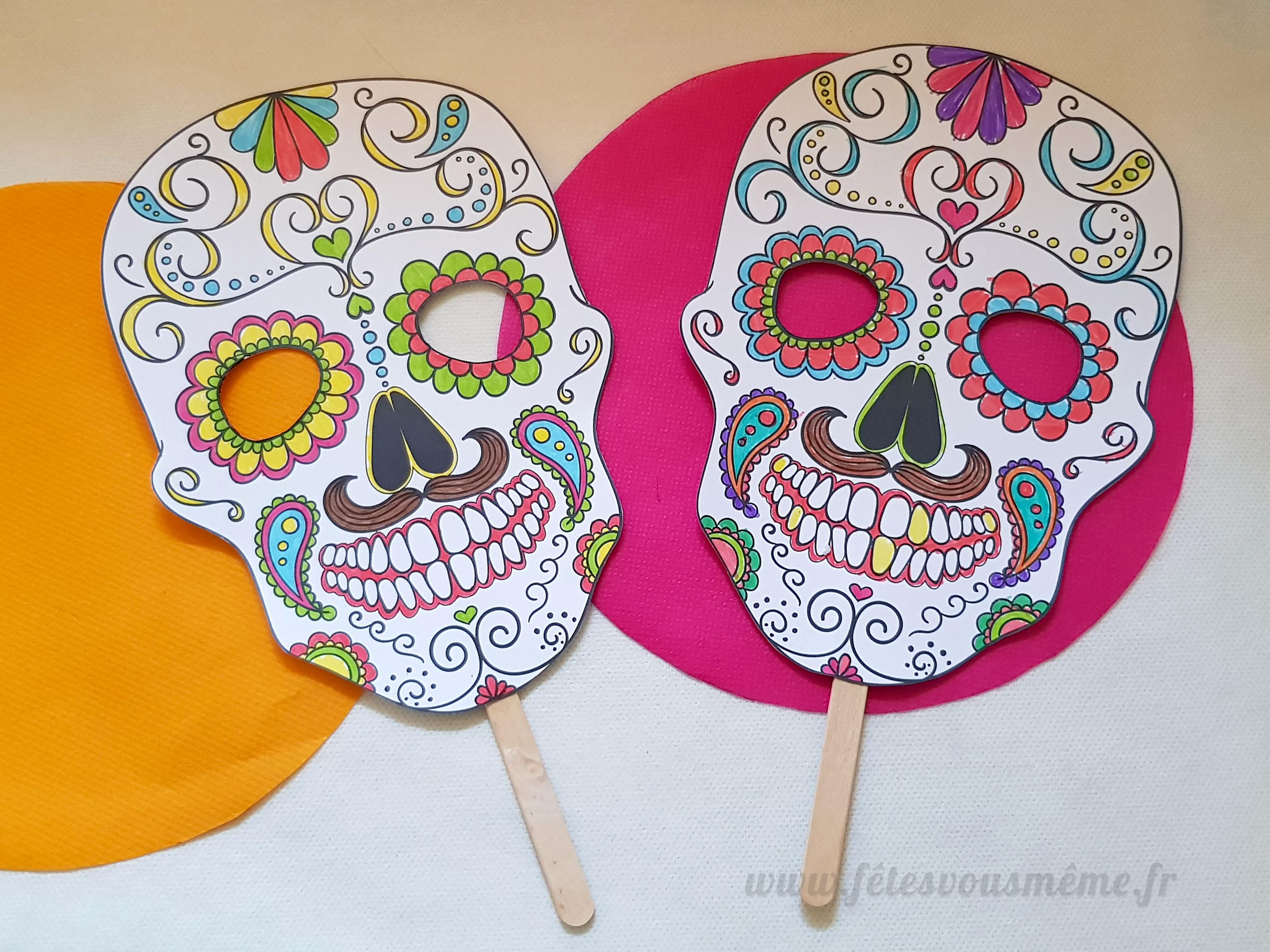 DIY Masque Calavera à colorier • Fêtes vous même