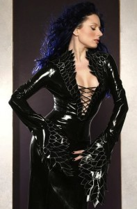 Extremely detailed lace up front latex dress