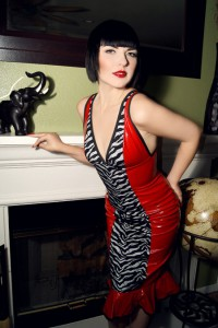 PVC zebra dress red