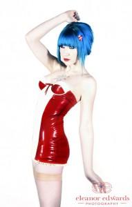 Red & White Latex Mini Dress