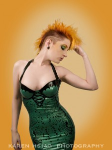 Snake Print latex dress