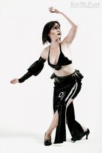 Stylus: Womens Latex Slit Pen Skirt