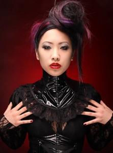 Black PVC and Lace Neck Corset