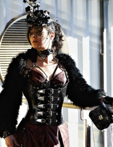 Full length leather corset with quarter cup breasts support