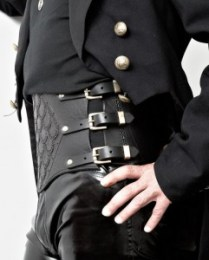 Man's steampunk leather corset