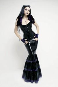 Avaritia - Latex skirt, ruffled, full length