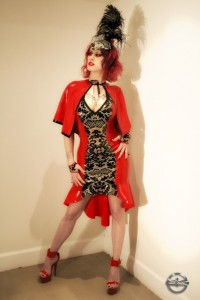 Transparent lace print red panel latex dress with hat and gloves