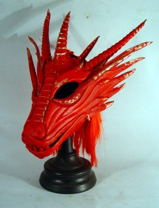 Red dragon mask with mane