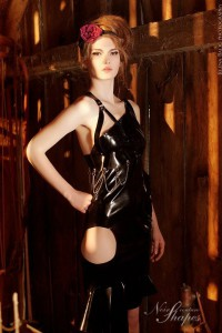 Hollow doll Latex oufit - latex dress & leather harness