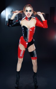 PVC Harley Quinn angled overbust corset