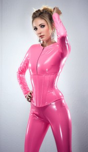 Coral Pink PVC underbust corset from Artifice Clothing