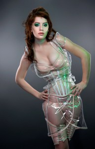 Glowing trim Clear vinyl Underbust corset