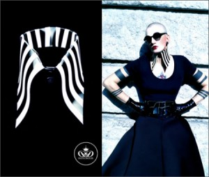 LATEX COLLAR WITH BLACK AND WHITE STRIPES