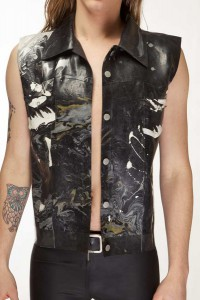 MARBLED LATEX JEAN JACKET