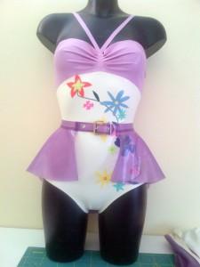 Latex Rubber Floral Applique Bodysuit