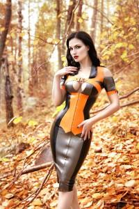 SUSANNA Corseted Latex Minidress