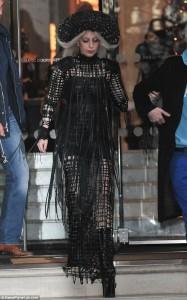 Gaga with Sasha Louise High Neck Latex Net Gown 2