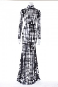 Sasha Louise High Neck Latex Net Gown