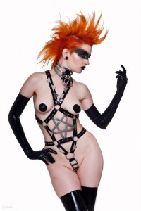 Latex Rubber Pentagram Body Harness with Metal plate detail