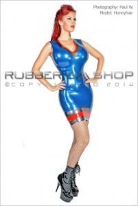 Madame Chevron Latex Dress