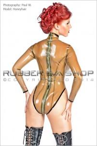 Long Sleeved Back Zip Rubber Leotard 2
