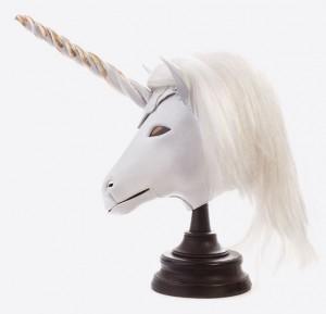 White Unicorn Art Leather mask side