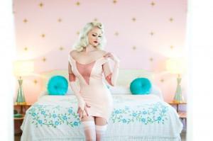 Elizabeth Rhinestoned Latex Garter Dress