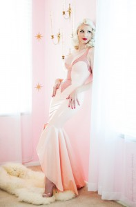 Jayne Rhinestoned Full Length Mermaid Tail Latex Gown Dress