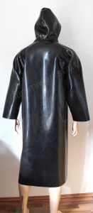 Rubber coat with hood back