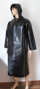 Rubber coat with hood front