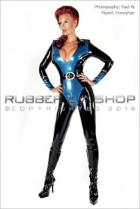 Officer Uniform Latex Catsuit 1