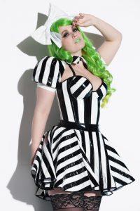Striped PVC Skater Skirt Shrug 1