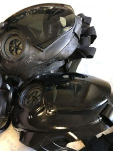 ガスマスクの清掃前と清掃後