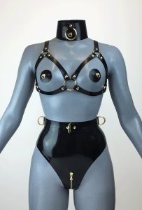 Latex Ringed Buckle Bondage Lingeries front