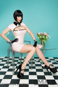 Elegant latex dress with Swarovski Buttons 2