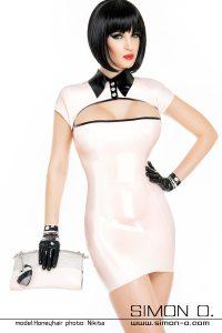 Elegant latex dress with Swarovski Buttons