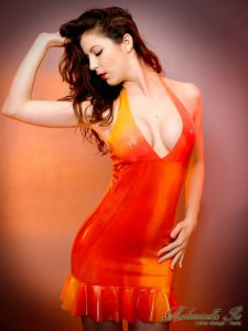 Yellow orange and red marble dress