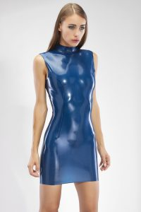 LATEX MINI DRESS WITH HIGH COLLAR