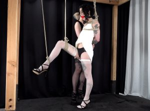 Standing In Bondage, Lydia Black Squirms And Cums for Arielle Aquinas