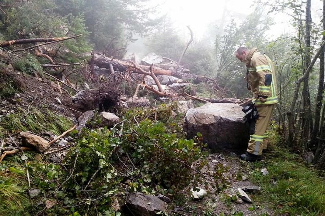 Besinnungsweg - Felssturz zwischen Locherboden und Untermieming, Foto: Feuerwehr Mieming