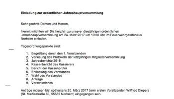 jahreshauptversammlung mit vorstandswahlen – ein abschied…, Einladung