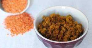 Plat végétarien: lentilles au curry - Feuille de choux