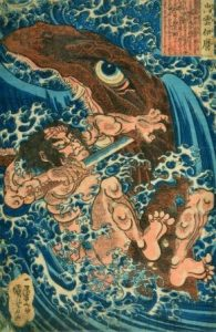 Utagawa Kuniyoshi (1797-1861), Held im Kampf mit dem Seemonster, 1827-30, Farbholzschnitt, 36 x 25 cm, Museum für Kunst und Gewerbe Hamburg, © MKG