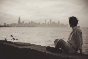 A lonely person looking at the view