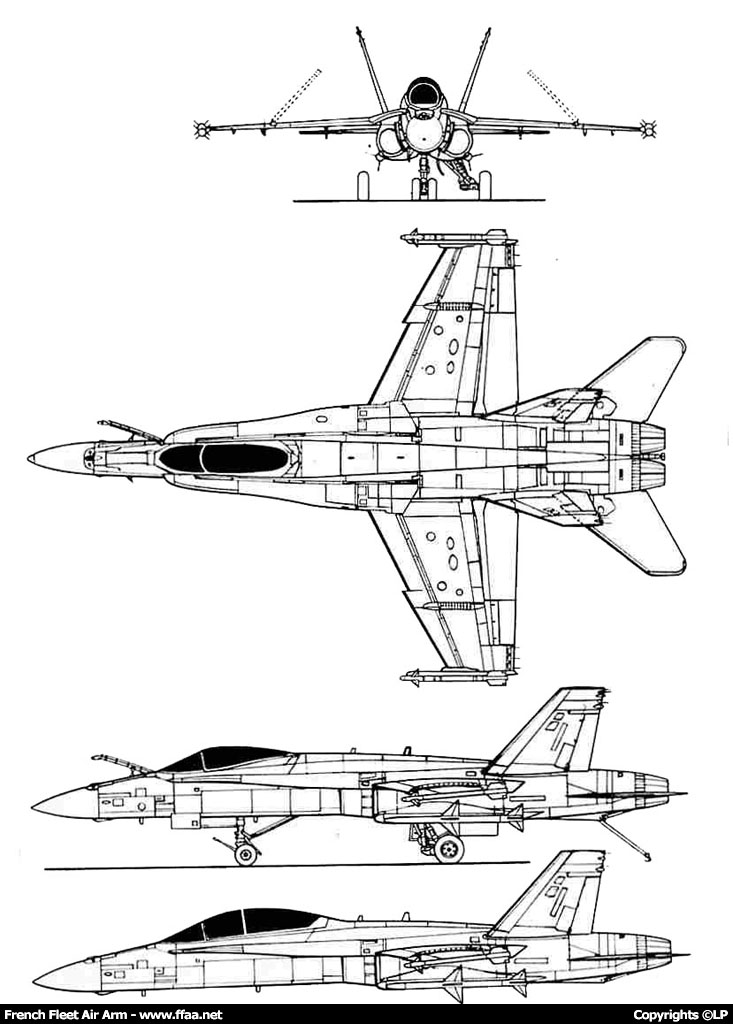 Caractéristiques du Mc Donnell-Douglas F-18 (FN) Hornet