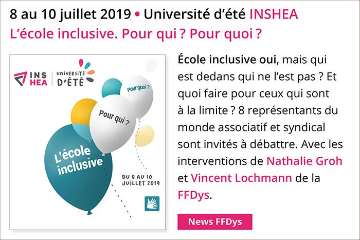 8 au 10 juillet - Université d'été INSHEA - L'école inclusive. Pour qui? Pour quoi?